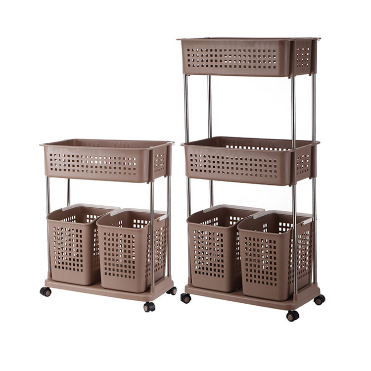 Household Plastic Bathroom Sorter Dirty Clothes Folding Storage Laundry Basket Rolling Trolley Cart