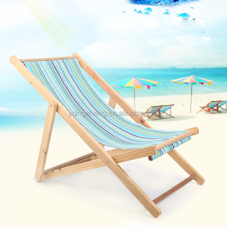 Sun Beach Chairs Folding Wooden Frame