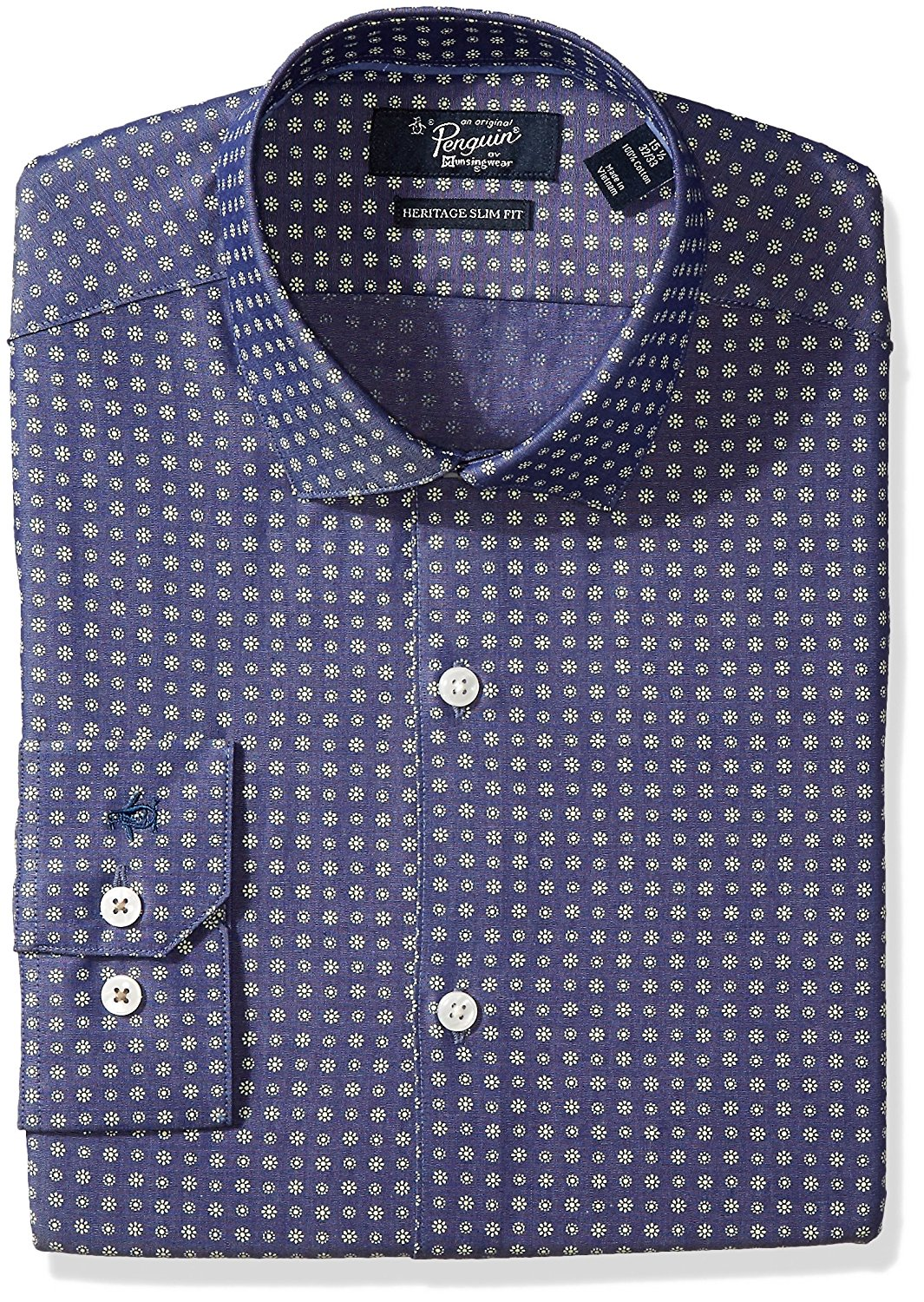 Get Quotations · Original Penguin Men s Slim Fit Foulard Dobby Denim Dress  Shirt, Indigo Foulard a5ffecd52de