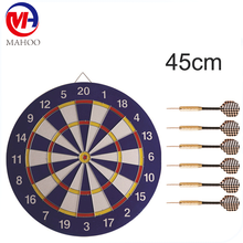 Dart Board set Double-sided Flocking Dart Board with 6 pcs Brass Darts(18 inches)