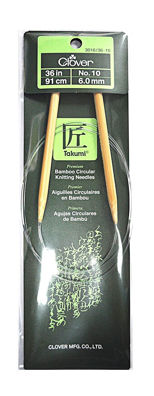 Clover Takumi Bamboo 36 Inch Circular Knitting Needle Size 10