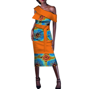 African Dresses Bazin Riche Ruffles One-shoulder Long Mermaid evening Dress Dashiki Traditional African Women Clothing WY130