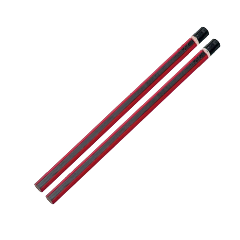 Wholesale unsharpened Hexagonal/Round/Triangular red thick stripe black lead pencil with short biack dipped end