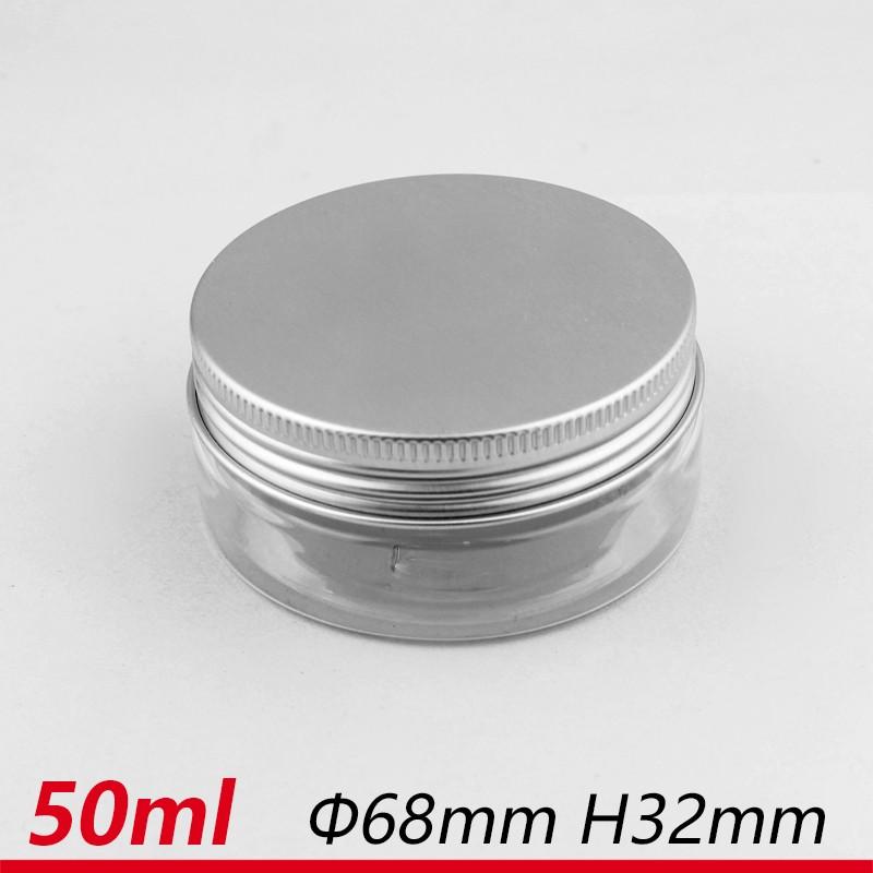 50 ml 68*32 PET Jar Jar pet con tappo in alluminio cosmetico bottiglia contenitore
