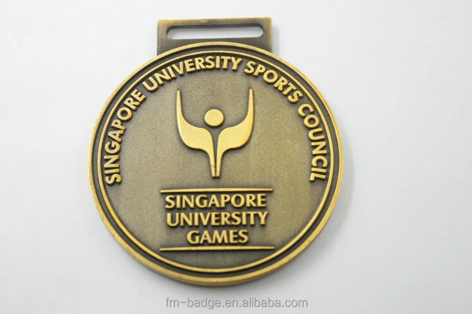 promotion award medal with good quality, antique brass singapore university sport council game medal with ribbon,