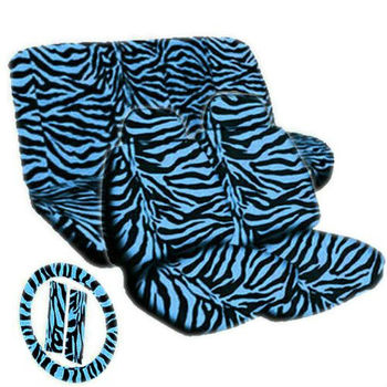 Amazing Blue Black Zebra Animal Print Seat Covers Steering Wheel Cover 11Pc Set Universal Buy Safari Seat Covers Auto Seat Cushion Car Seat Covers Machost Co Dining Chair Design Ideas Machostcouk