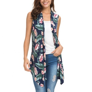 In Stock Hot Sale Open Front Knit Sleeveless Cardigan Women Floral Print Vest