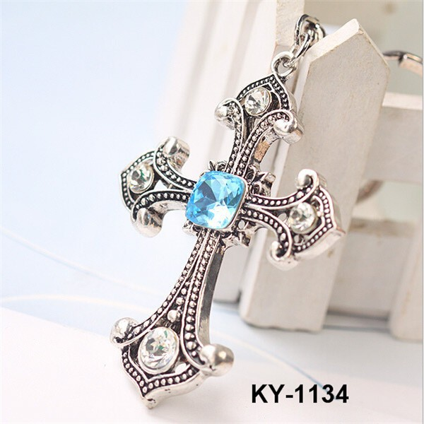 Hot Selling Creative Souvenir Crystal Religious Cross Keychain With Diamond