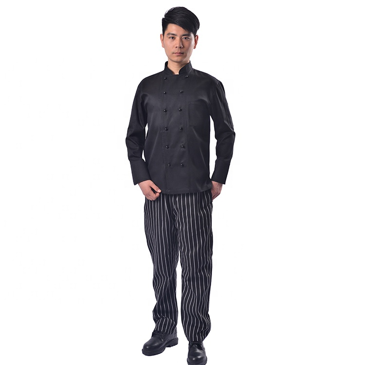 factory direct price fashion executive Oilproof men black and red Chef Coat and baggy pants cooking Uniform set