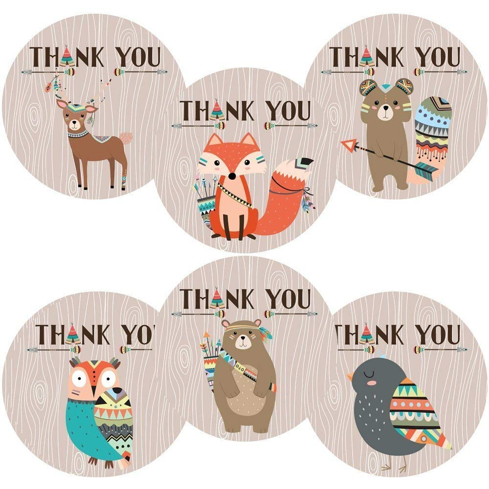 Tribal Woodland Forest Animals Thank You Sticker Labels - Birthday Baby Shower Party - Set of 30
