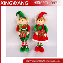 24 inch scalable velvet fabric christmas elf doll stangding with gift bag