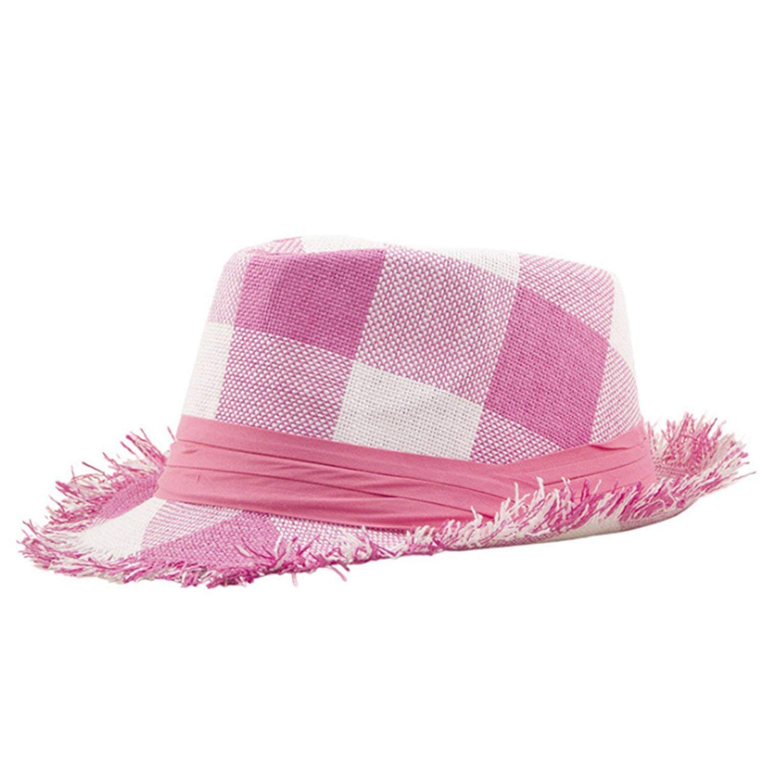 bc9c266d Get Quotations · Eric Hug hat Summer Beach Hats for Women Panama Hat Plaid  Straw Fedoras Lady Casual Jazz