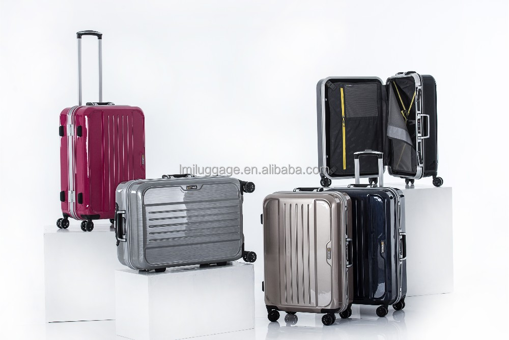 ABS 2014 Fashion Design and Colorful hardside Clear Super Light Four Wheels PC Trolley Luggage