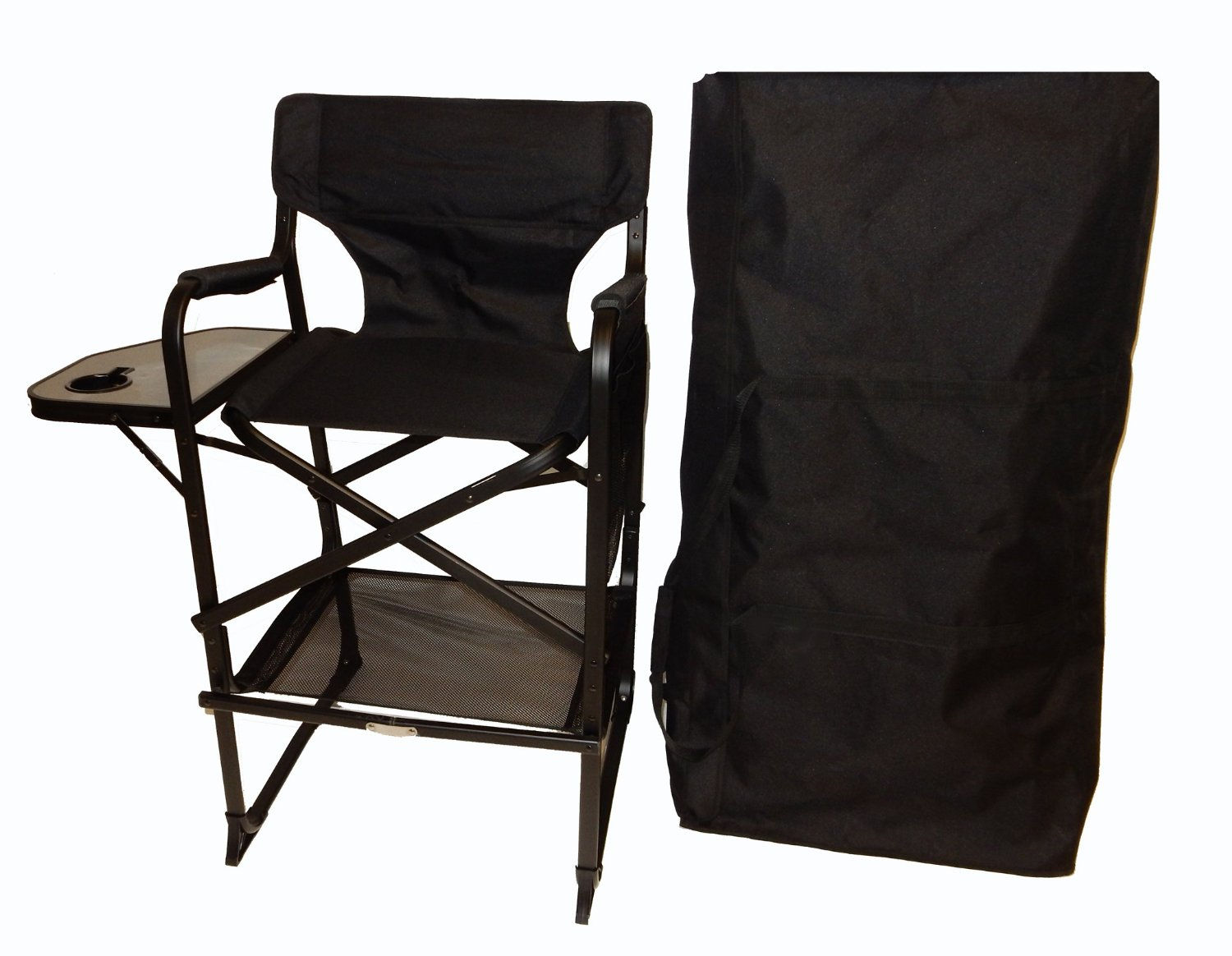 World Outdoor Products Lightweight PROFESSIONAL EDITION Tall Directors Chair with CUSTOM ZIPPERED Storage Bag, Side Table with Built-In Cup Holder REMOVABLE PATCH on Chair Back.