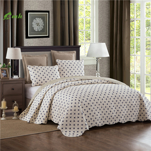 Home Fashions Paisley White Chic Printed 100 % Cotton Quilt Bedding Set Reversible Bedspread