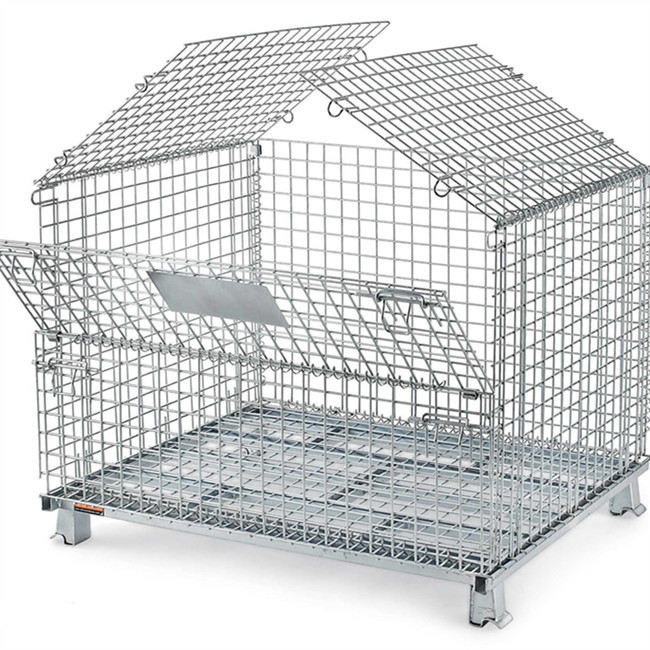 304 Stainless steel collapsible wire mesh wheeled container / wire pallet cage for storage