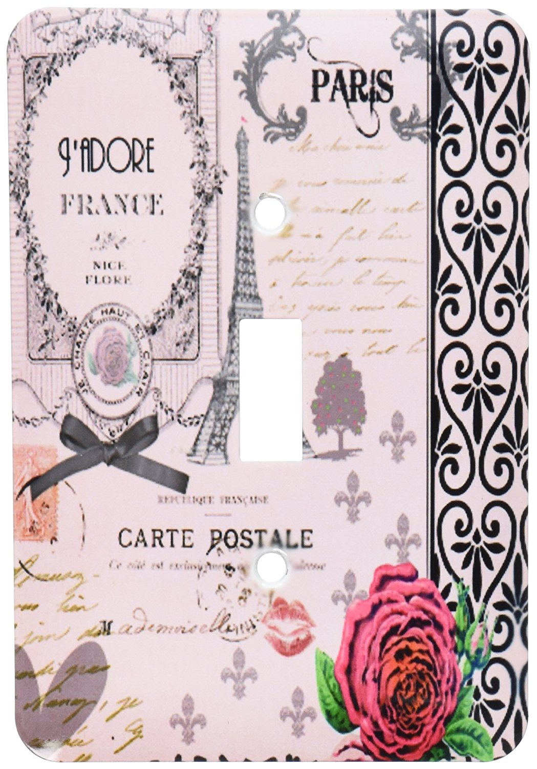4d32c1c5e1 Get Quotations · 3dRose LLC lsp 76593 1 Stylish Vintage Pink Paris Collage  Art Eiffel Tower Red Rose Girly Gothic Black