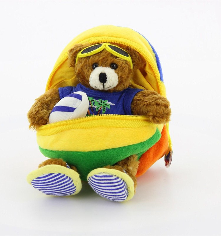 Custom stuffed soft toy ball fabric covered beach soccer plush ball toy hidding bears