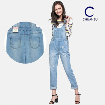 25a833016a5 Suspender Dungarees Jeans Trouser For Women Jean Lady Hole Denim Jumpsuit  Suspender Trousers Overall With Pockets