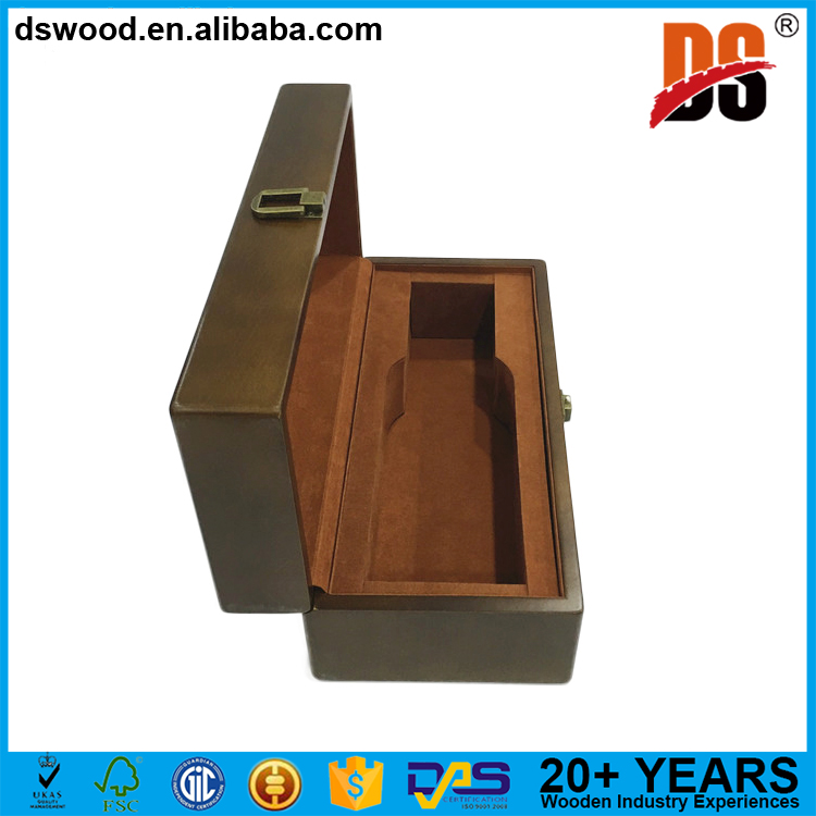 DSWOOD Fancy Customized Wooden Single Whisky Bottle GIft Box