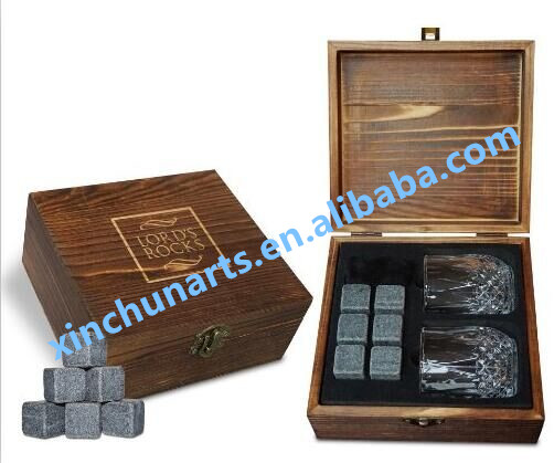 Whiskey Stones Gift Set in Wooden Box Father's Day Gift Nice Stone Gift