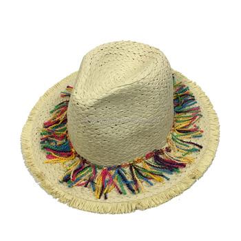 ac29fbc5d3da7 Adult Summer Bohemian Packable Fedora Straw Hat With Pom Pom Tassels ...