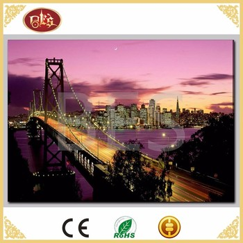 Gift LED Landscape City Linen Split Famous Canvas Painting