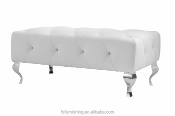 jr1132 modern white color genuine leather crystal tufted leisure chair bed end bench