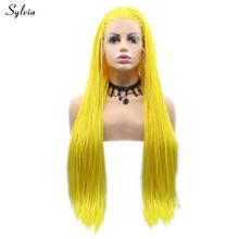 Sylvia плетеные парики 613 #/желтые волосы, синтетические парики на кружеве, косичка, парик из натуральных волос, карнавальный костюм для женщин(Китай)