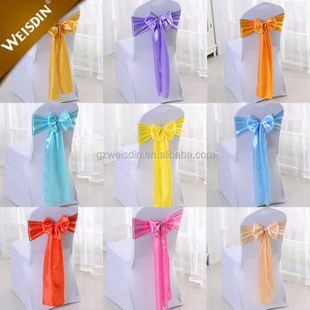 Hot selling factory custom made party and wedding decoration satin hot selling factory custom made party and wedding decoration satin fabric gold chair sashes in guangzhou junglespirit Choice Image