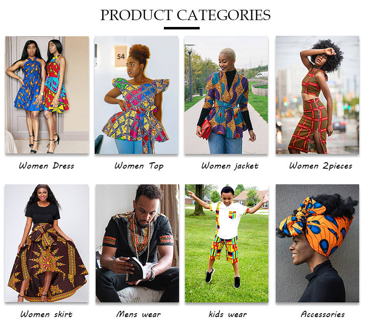 L042 Wholesale Fashion African Clothing Couples Design  two-piece suits  mens shirt and women's skirts suits