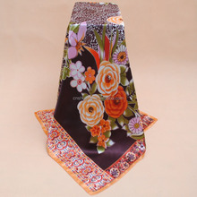 Fashion flower printing cheap imitate chinese silk square scarf 90*90 cm