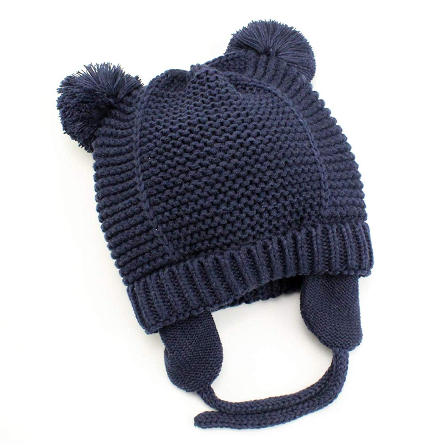 a1e546a61c2 Get Quotations · Baby Beanie Earflaps Hat - Infant Toddler Girls Boys Soft Warm  Knit Hat Kids Winter Hat