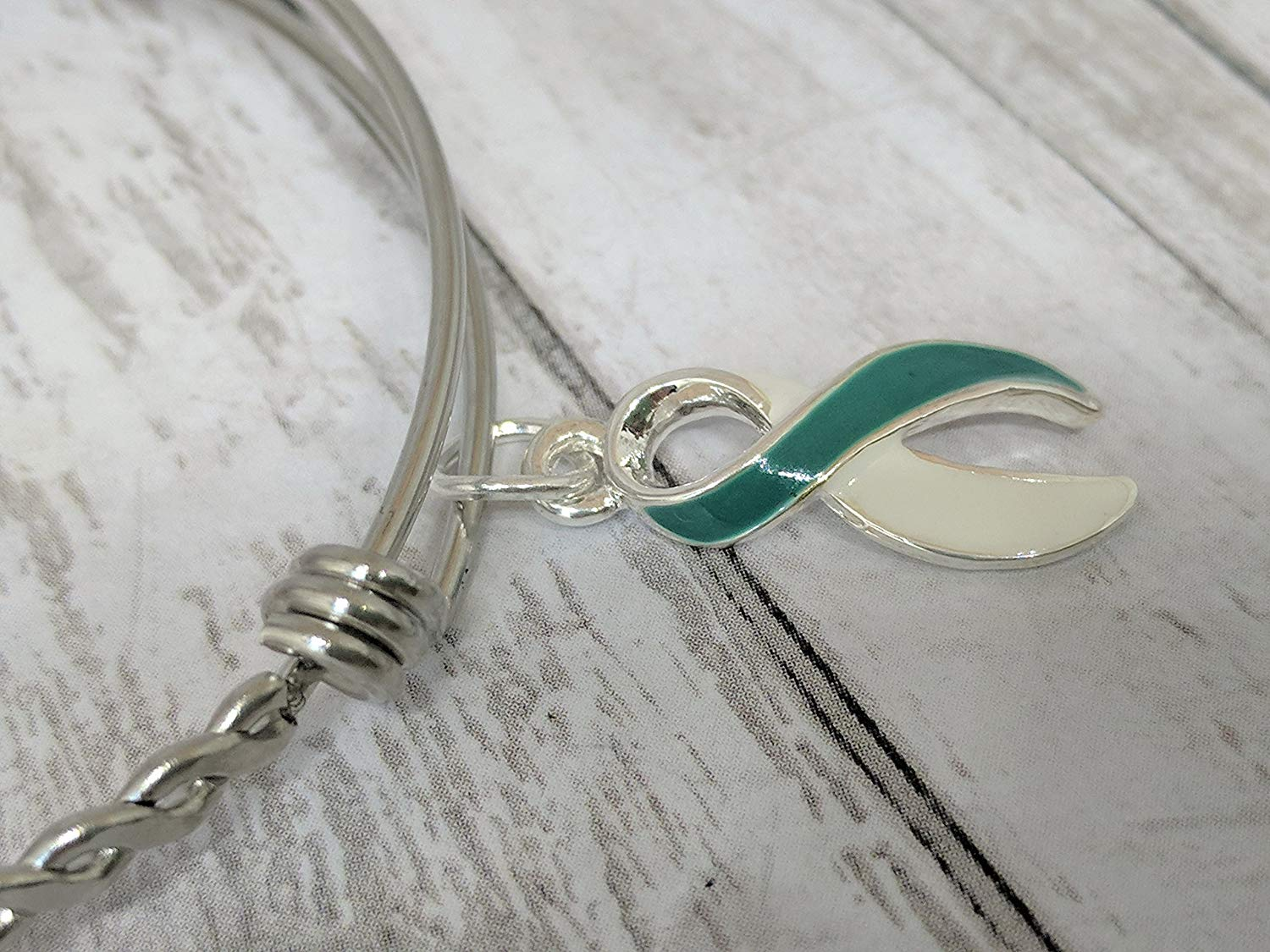Cervical Cancer awareness ribbon bangle bracelet: Teal and White Awareness Ribbon