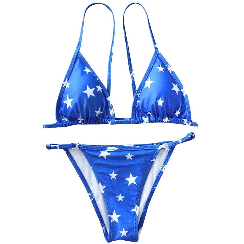 4c81f89047 Get Quotations · Peanutcool Brazilian Bikini Swimsuit Push Up Women Star  Print Bikini Outfits Sets Bandage Swimsuit (L