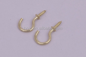 square cup hook cup hooks with shoulder Top Quality open eye screw hooks Galv/Black/Bp finish,hanging hook