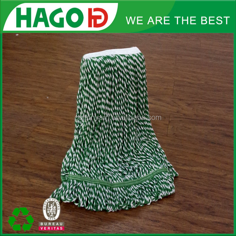 450g white green striped bi-color looped end cotton mop head manufacturer