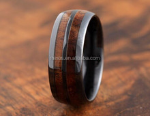 2015 Fashion Jewelry 8mm Black Tungsten Wood Ring