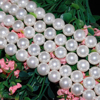 PJ32 Perfect round shape 12mm shell pearl strand
