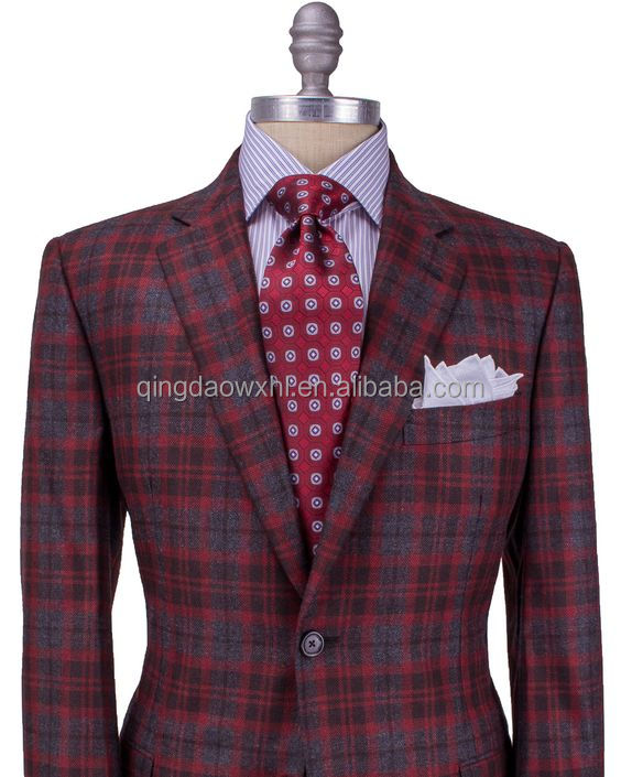 British style single button notch lapel red plaid men suit
