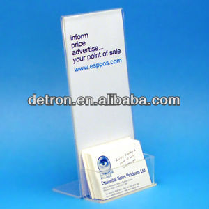 lean back one third A4 clear acrylic poster message holder with landscape business card holder A322