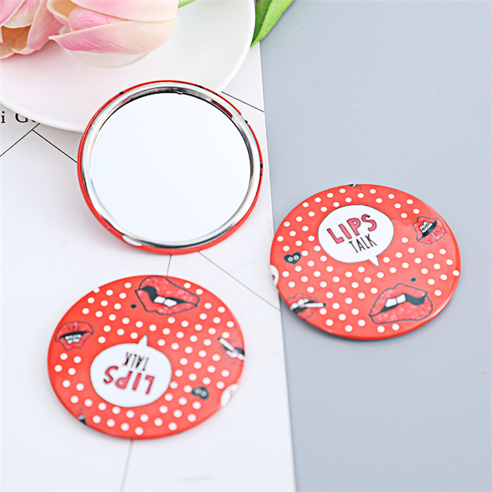 tin metal 65mm small makeup decorative mirror with your logo