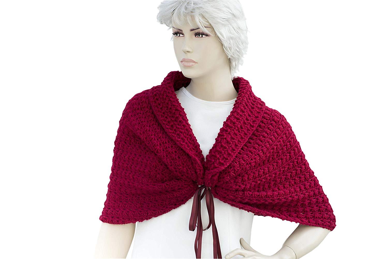 987aee2bb Get Quotations · Red Shawl, Red crochet shawl, cowl shawl, Bridal gift,  shawl, shrug