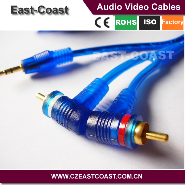 cable car transparent Blue 3.5mm stereo to 2rca cable