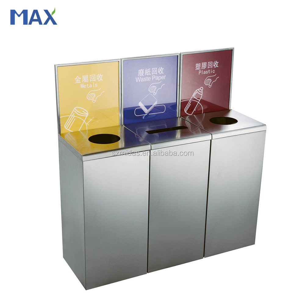 indoor recycling open top opening stainless steel wast bin for public place