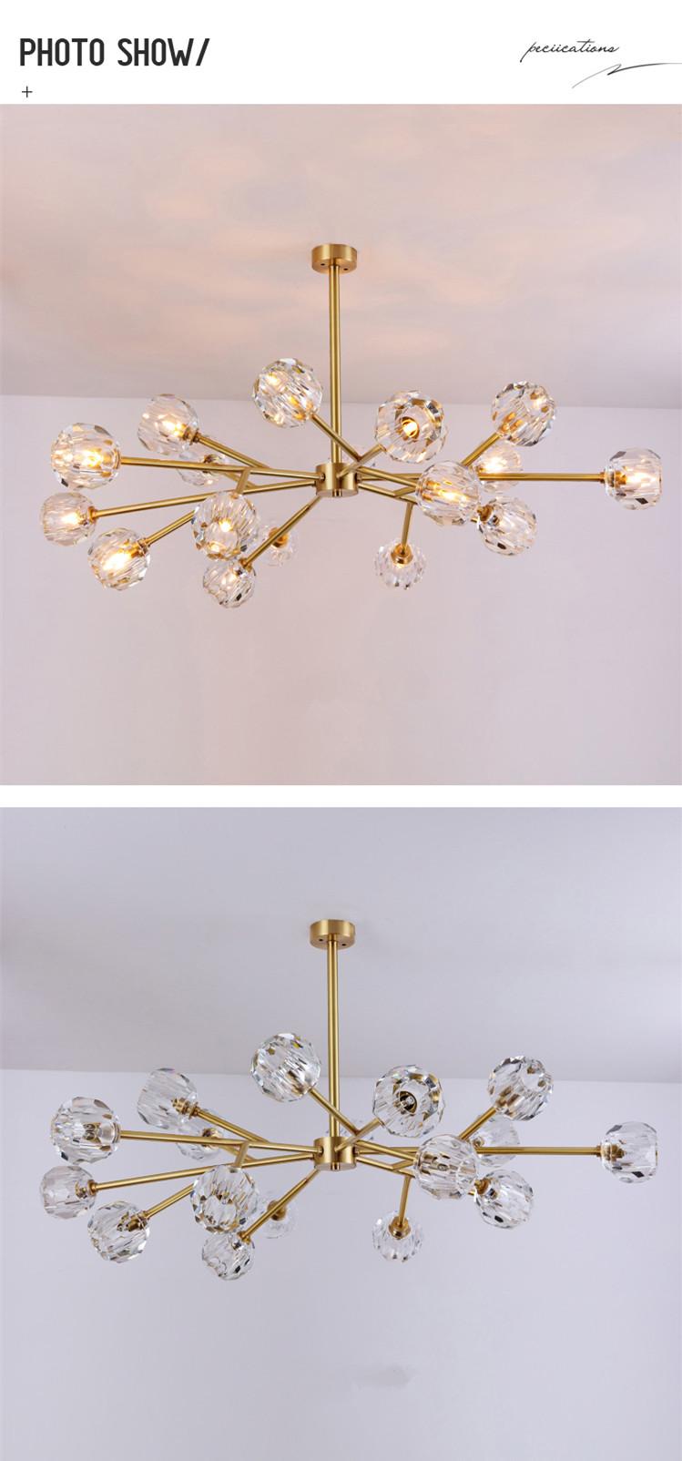Wholesale nordic luxury modern contemporary art decor decoration copper arm glass globe ball led lamp Chandelier pendant light