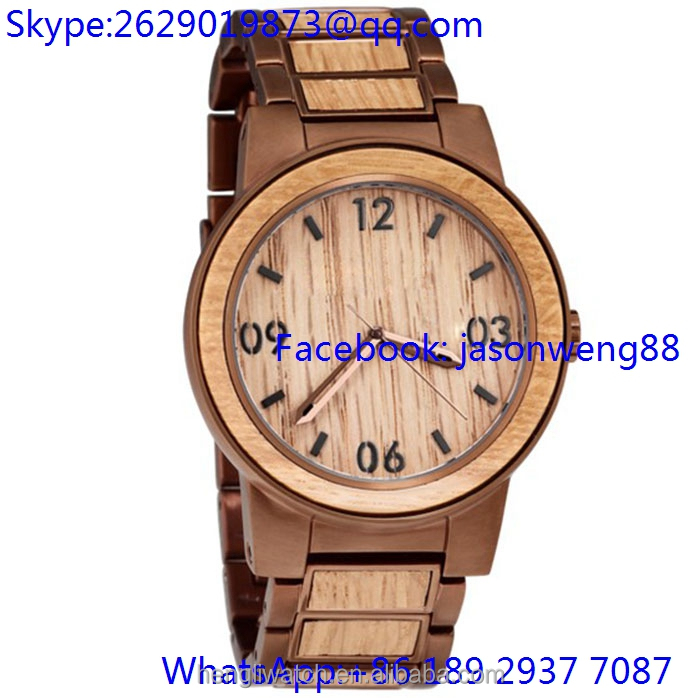 2016 high-quality stainless steel with wooden bezel watch for man