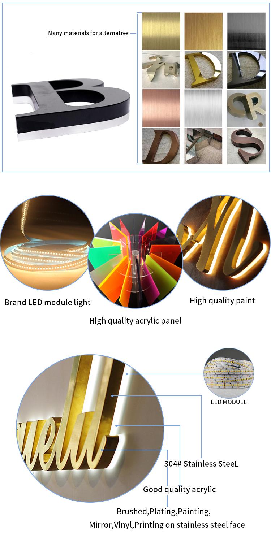 Segno esterno Loghi In Metallo Lettera di Scanalatura Segno