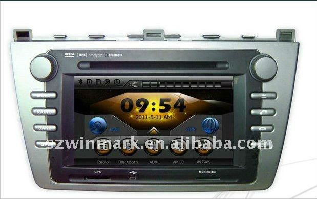 Mazda-6 special car GPS DVD with 7inch TFT LCD touch screenBluetooth, IPOD,TV, radio, SD, USB, steering wheel control,etc
