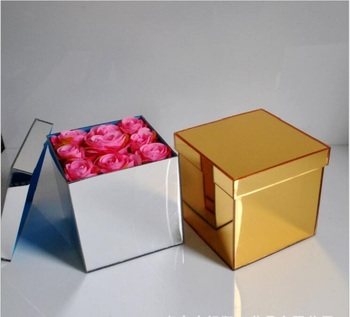 Silver Golden Acrylic Rose Mirror Flower Box